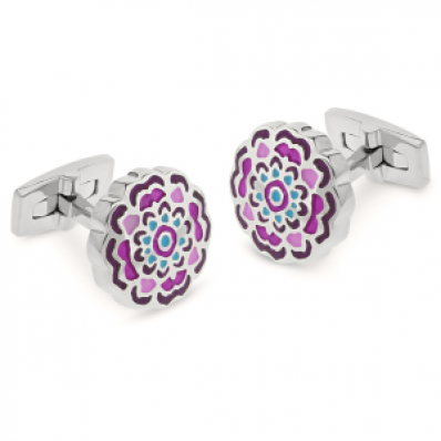 Duncan Walton Pink & Blue Flower Appleton Cufflinks