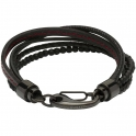 Unique & Co Black Ion-Plated Steel Leather & Hematite Bracelet B387RE