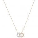 Swarovski Crystal Stone Set Necklace, Double Circle, White and Rose Gold Plated