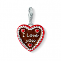 Thomas Sabo Silver, Brown & Red Enamel Gingerbread Heart Charm 1096-007-2