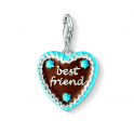 Thomas Sabo Silver, Brown & Blue Enamel 'BEST FRIENDS' Gingerbread Charm 1099-007-2