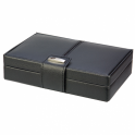 ​Dulwich 15 compartment Black & Purple Leather Cufflink Box 70284
