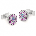 ​Duncan Walton Rhodium Plated Pink & Blue Flower Appleton Cufflinks