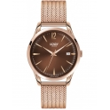​Henry London 39mm Rose Gold Plated Harrow Mesh Bracelet & Chocolate Brown Date Dial - HL39-M-0050