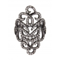 ​​Vamp London Oxidised Silver Hidden Mask Ring HMR041-OX-C