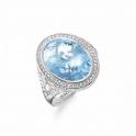 Thomas sabo Silver Oval Blue Cubic Zirconia Ring TR2022-059-1-54