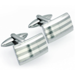 Unique Mens Stainless Steel Silver Striped Rectangle Cufflinks Unique Mens Stainless Steel Silver Striped Rectangle Cufflinks