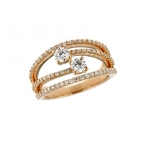 Hans D.Krieger 18CT Rose Gold and Diamond Multi Row Ring