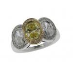 Hans D.Krieger 18CT White Gold, White and Yellow Diamond  Halo Three Stone Ring
