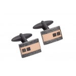Unique & Co Stainless Steel and Rose Gold Cufflinks
