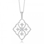 18CT WHITE GOLD, DIAMOND FILIGREE PENDANT