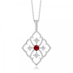 18CT WHITE GOLD, DIAMOND AND RUBY FILIGREE PENDANT