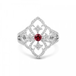 18CT WHITE GOLD, DIAMOND AND RUBY FILIGREE RING