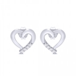 9ct White Gold Diamond Heart Studs