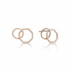 Ania Haie Two Shape Interlocking Stud Earrings. Rose Gold Plated  E008-08R