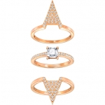 Swarovski Funk Ring Set Rose gold