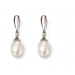 9ct White Gold Tear Fresh Water Pearl and Diamond Drop Earring GE2075W