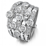 Hans D Kreiger 18ct White Gold Rubover and Channel Set Diamond Bubble Ring