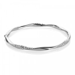 9ct White Gold Diamond Cut Twist Bangle
