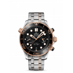Omega Seamaster Diver 300M Black Dial Chronograph Steel and Sedna 44mm