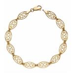 Elements 9ct Yellow Gold Filigree Link Bracelet