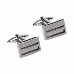 Unique & Co Polished & Satin Steel Cufflinks QC-257