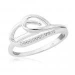 9ct White Gold & Diamond Swirl Ring