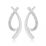 9ct White Gold & Diamond Swirl Earrings