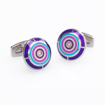 ​Duncan Walton Stainless Steel Round Purple & Pink Flux Cufflinks