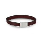 ​Duncan Walton Stainless Steel Burgundy Leather Scott Bracelet