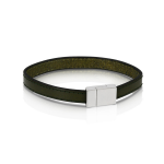 ​Duncan Walton Stainless Steel Olive Green Leather Scott Bracelet