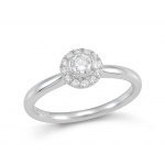​9ct White Gold Claw Set Round Brilliant Cut Diamond Halo Cluster Ring.