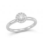 9ct White Gold Claw Set Round Brilliant Cut Diamond Halo Cluster Ring.