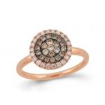 18ct Rose Gold Brown & White Diamond Circle Cluster Ring