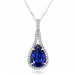 18ct White Gold Tanzanite & Diamond Pear Shaped Diamond Pendant