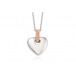 Clogau Silver & 9ct Rose Gold Cariad Heart Pendant Small 3SCA012