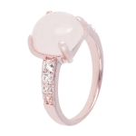 Bronzallure 18ct Rose Gold Felicia Shiny Rose Quartz Ring WSBZ00150-14