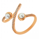 Bronzallure Shiny Pearl and Cubic Zirconia Felicia Ring in 18kt Rose Gold Plated WSBM00043