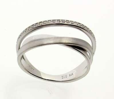 9ct White Gold Three Row Diamond Ring S9925