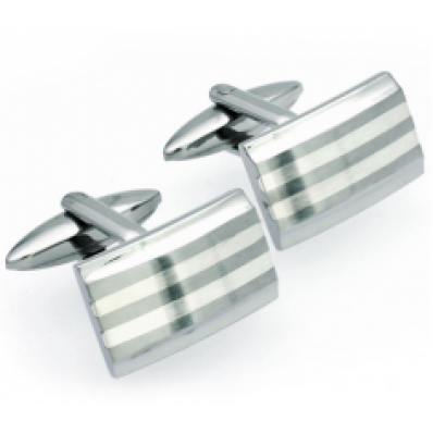 Unique & Co Stainless Steel & Silver Striped Cufflinks QC-58