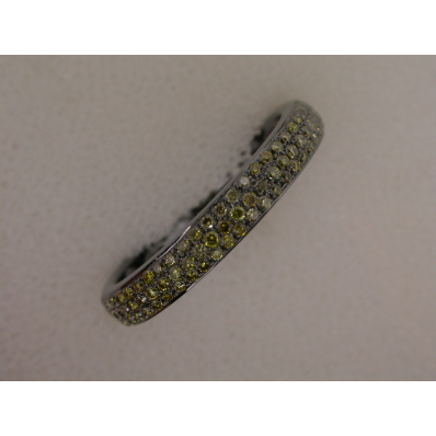 18ct White Gold Green Pavé Set Diamond Ring