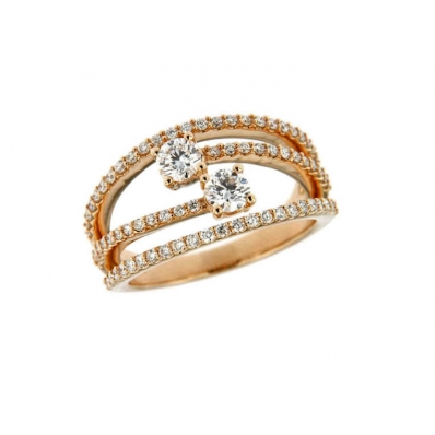 Hans D.Krieger 18ct Rose Gold and Diamond Multi Row Ring 01-09-462