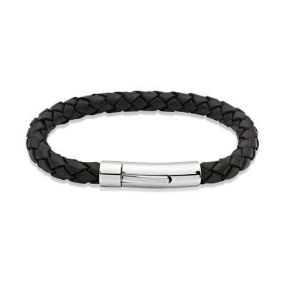 Unique & Co Black Leather & Steel Bracelet A40BL