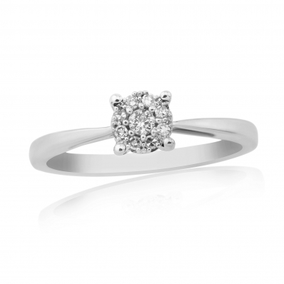 9ct White Gold Illusion Cluster Diamond Ring