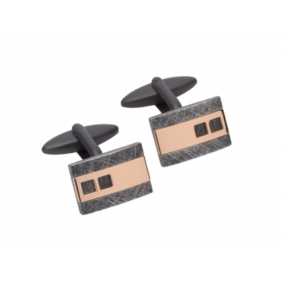 Unique & Co Rose Gold Plated & Steel Cufflinks QC-220