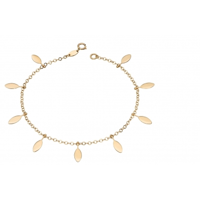 Yellow Gold Leaf Charms Bracelet