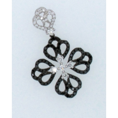 18ct White Gold Black and White Diamond Clover Leaf Pendant
