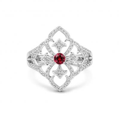 18CT WHITE GOLD, DIAMOND AND RUBY FILIGREE RING