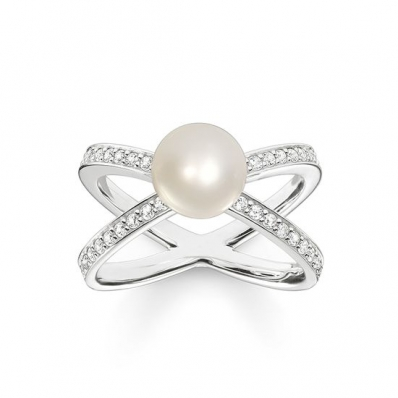 Thomas Sabo Sterling Silver Glam and Soul Pearl Ring TR2077-167-14-60