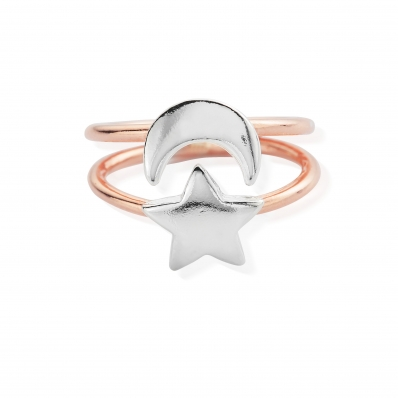 Chlobo 925 Sterling Silver Rose Gold  Luna Ring Large RRLUNA3283